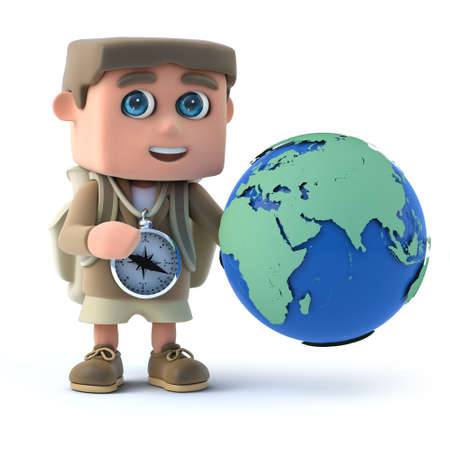 3d Young Hiker with globe of the world photo