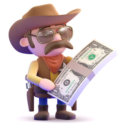 gunslinger: 3d render of a cowboy with a stack of dollar bills Stock Photo