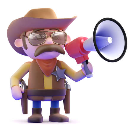 cowboy gun: 3d render of a cowboy with a megaphone Stock Photo