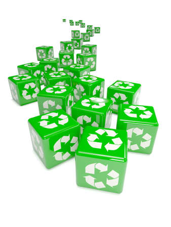 3d render of green recycling dice photo