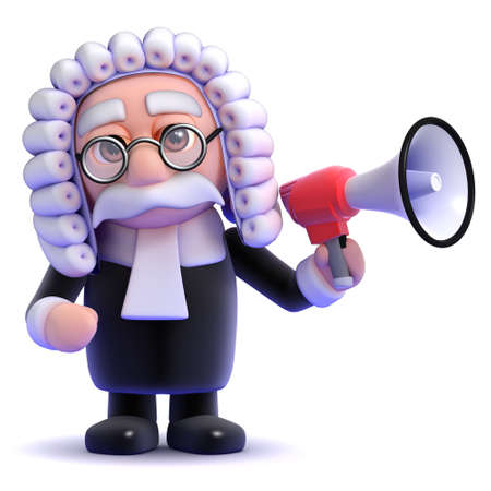 barrister: 3d render of a judge speaking through a megaphone Stock Photo