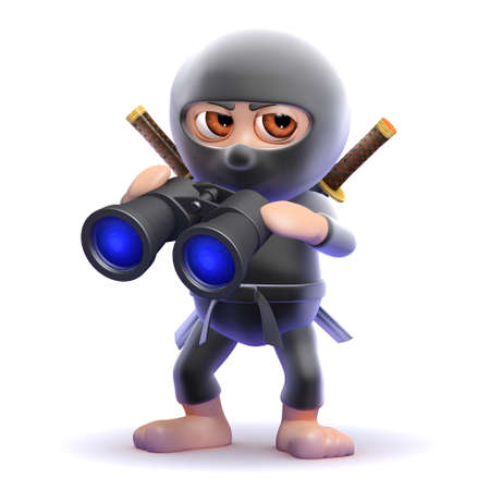 3d render of a ninja looks through binoculars photo