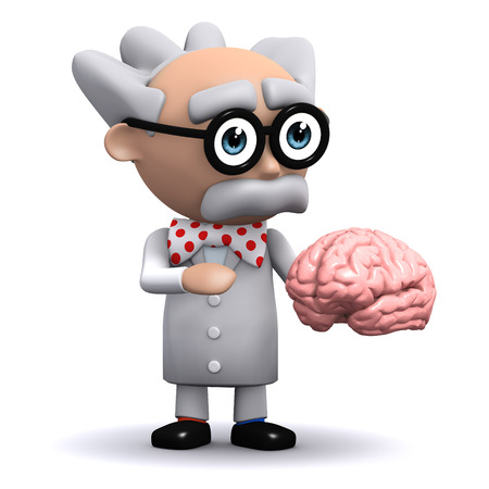 3d render of a scientist holding a brain photo