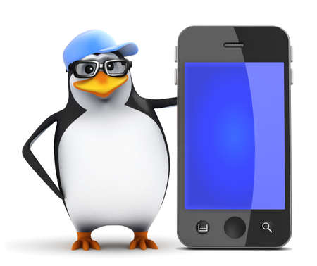 3d Penguin with huge smartphone photo