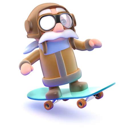 3d Pilot rides his skateboard photo