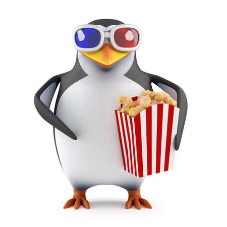 eats: 3d Penguin eats popcorn at the movies