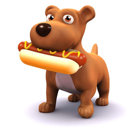 3d render of a dog eating a hot dog photo