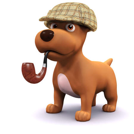 hound dog: 3d render of a dog smokes a pipe and wears a deerstalker hat Stock Photo