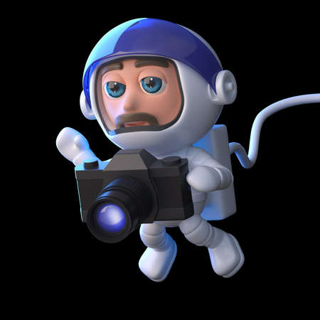 3d render of a spaceman floating with a  camera photo