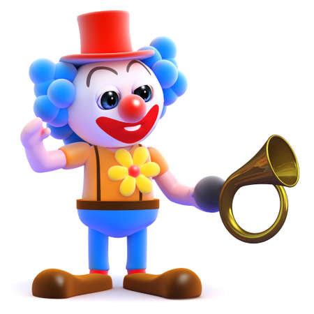 3d render of a clown with a horn photo
