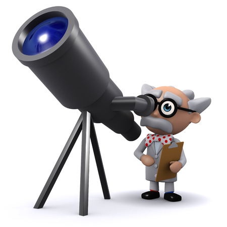 3d render of a mad scientist character looks through his telescope photo