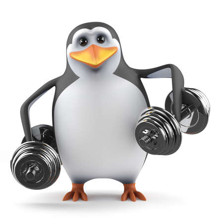3d render of a penguin lifting dumbells photo
