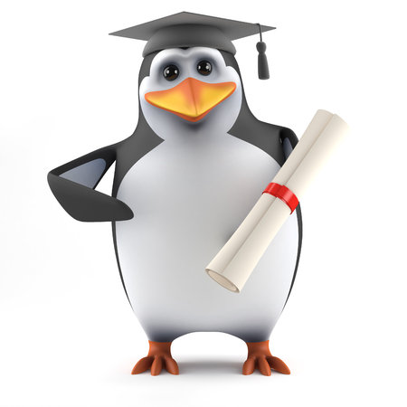 3d Penguin graduate photo