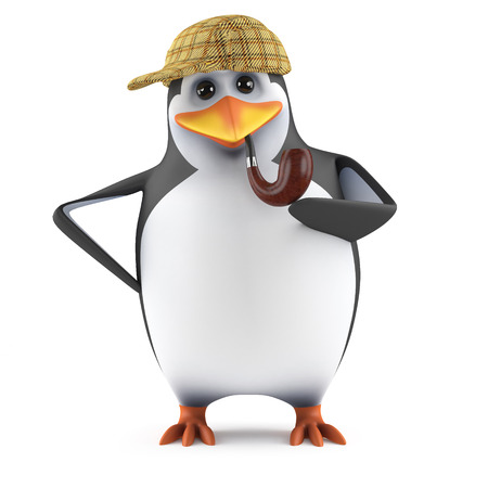 3d render of a penguin dressed as Mr Holmes photo