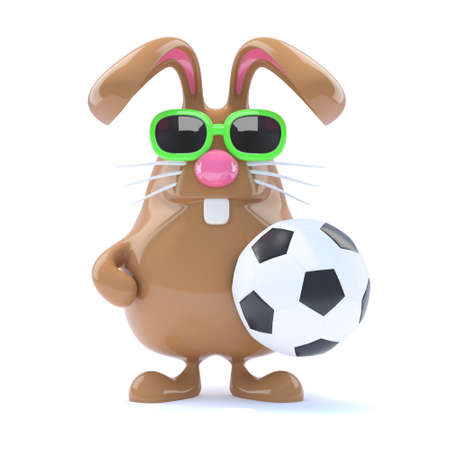 3d render of a rabbit with a football photo