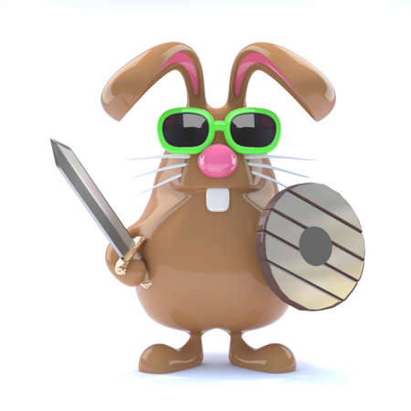 3d render of a rabbit with sword and shield photo
