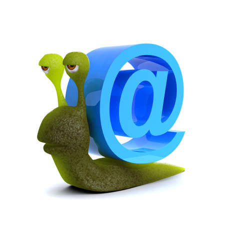 slither: 3d render of a snail with email @ symbol
