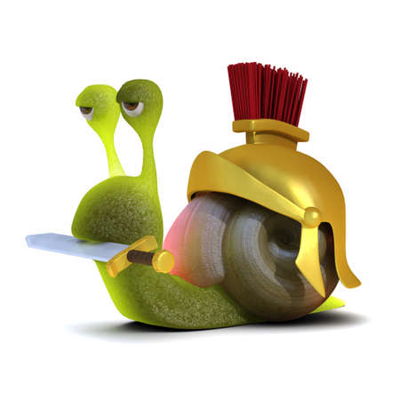 slither: 3d render of a snail dressed as a Roman soldier Stock Photo