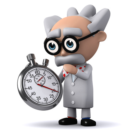 3d render of a scientist holding a stopwatch photo