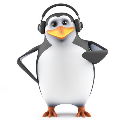 3d render of a penguin wearing headphones photo
