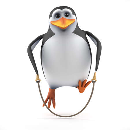 3d render of a penguin using a skipping rope photo