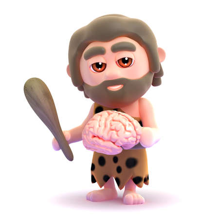 stoneage: 3d render of a caveman holding a brain Stock Photo