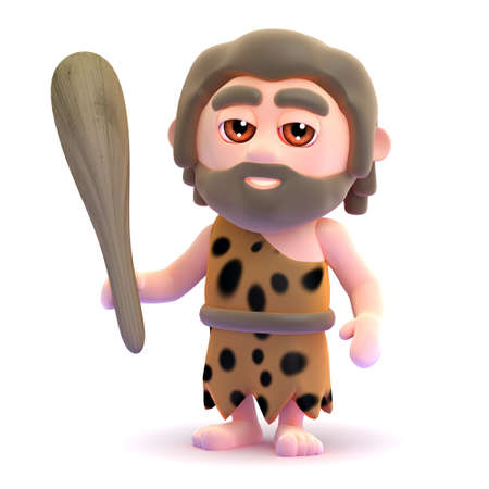 stoneage: 3d render of a caveman holding a wooden club Stock Photo