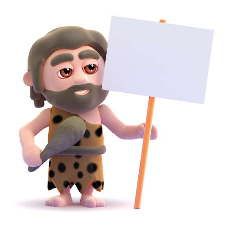 stoneage: 3d render of a caveman holding a placard