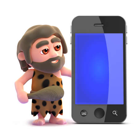 stoneage: 3d render of a caveman with a smart phone Stock Photo