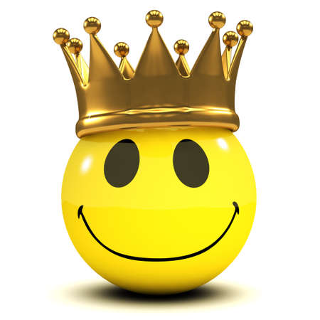 3d render of a smiley wearing a gold crown photo