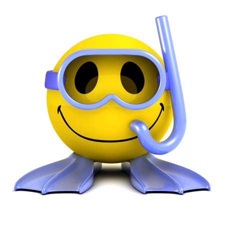 3d render of a smiley wearing goggles, a snorkel and flippers photo