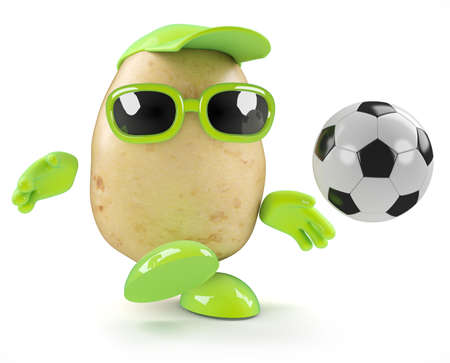3d render of a potato playing football photo