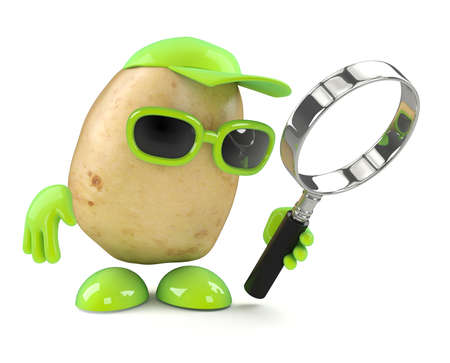 spud: 3d render of a potato looking through a magnifying glass Stock Photo