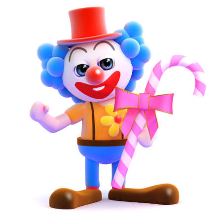 3d render of a clown with some pink candy photo