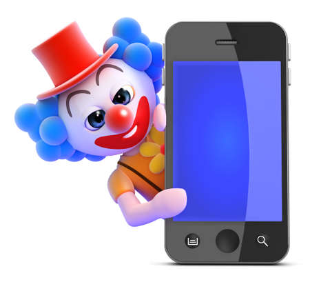 idiot: 3d render of a clown behind a smart phone Stock Photo