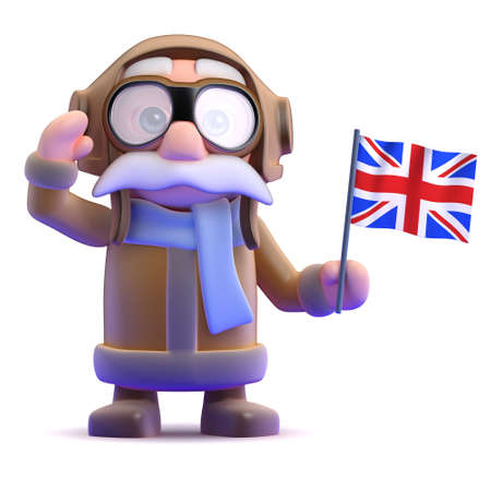 3d render of a pilot waving a Union Jack flag photo