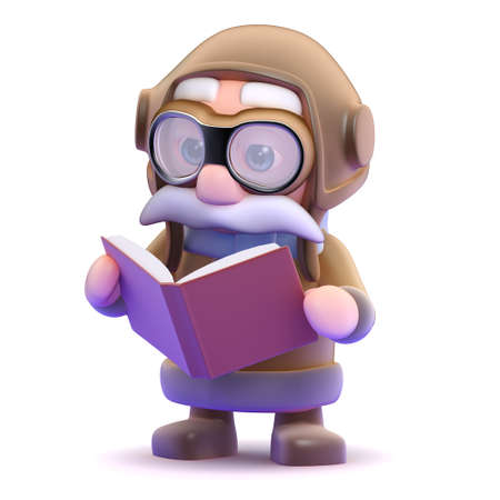 3d render of a pilot reading a book photo