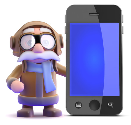 3d render of a pilot next to a giant smart phone photo