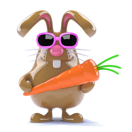 3d render of a chocolate rabbit holding a carrot photo