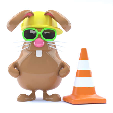 roadworks: 3d render of a rabbit with a hard hat and traffic cone