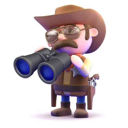gunslinger: 3d render of a cowboy holding binoculars