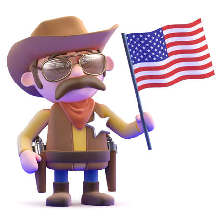 cowboy gun: 3d render of a cowboy holding an American flag Stock Photo