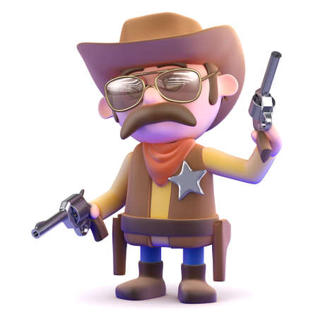 3d render of a cowboy shooting his pistols photo