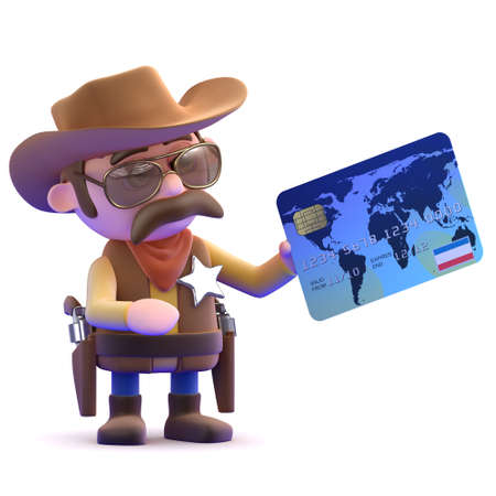 cowboy gun: 3d render of a cowboy holding a debit card Stock Photo