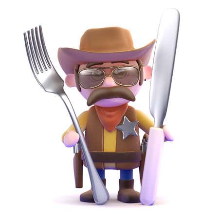 gunslinger: 3d render of a cowboy holding a knife and fork Stock Photo