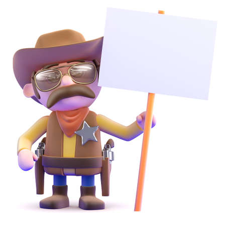 3d render of a cowboy holding a placard photo