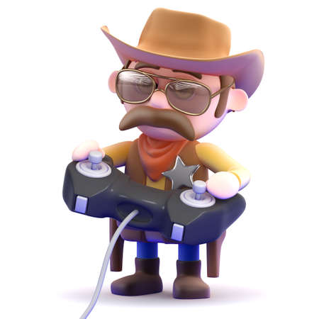 3d render of a cowboy playing video games photo