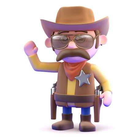 gunslinger: 3d render of a cowboy waving