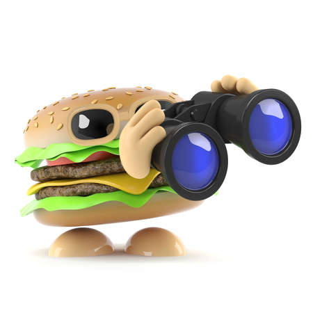 3d render of a burger holding a pair of binoculars photo