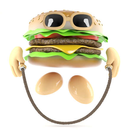 3d render of a burger skipping photo